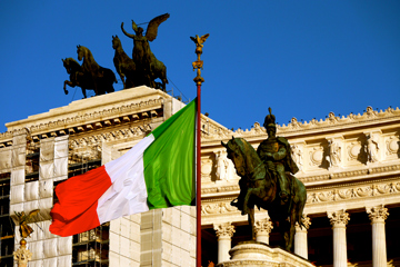 Vittorrio Monument and Italian Flag in Rome, Italy
