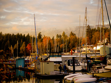 A harbour by Stanley Park during the late autumn months in Vancouver, Canada