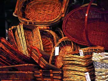 Baskets on display at a market stall in Viarreggio, Italy