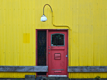 Red door, yellow wall