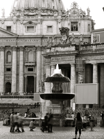 A fountain in front the Vatican