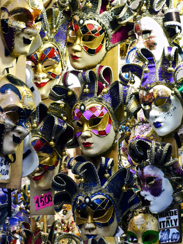 Carnival masks displays in Italy