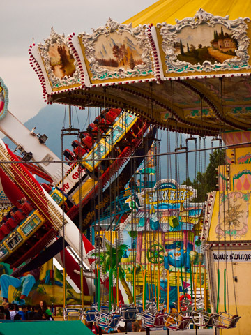 Carnival rides, including the swings, at Vancouver's Playland during the PNE