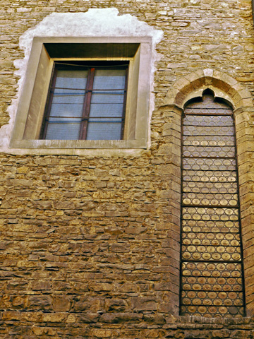Windows on a church in Florence, Italy