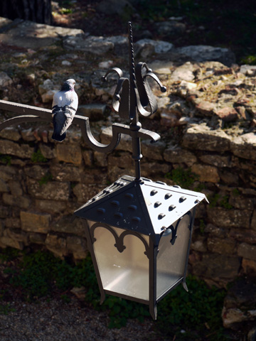 Pigeon sitting on a lantern in Arezzo, Italy