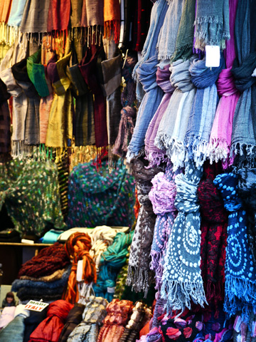 Designer scarves displayed in Tuscany