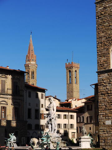 Piazza Signoria is home to fountains, statues and the Bargello in Florence, Italy