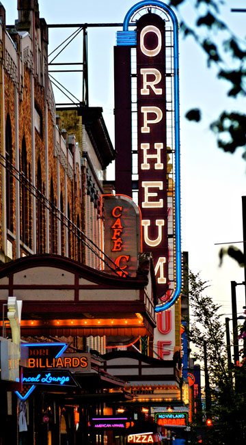 The Orpheum is a popular landmark on Granville Street in Vancouver, BC